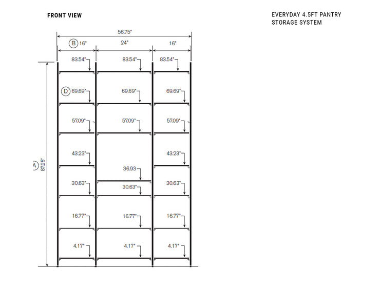 Elevation drawing showing measurement details for the Everyday 4.5ft Pantry Storage System | California Closets