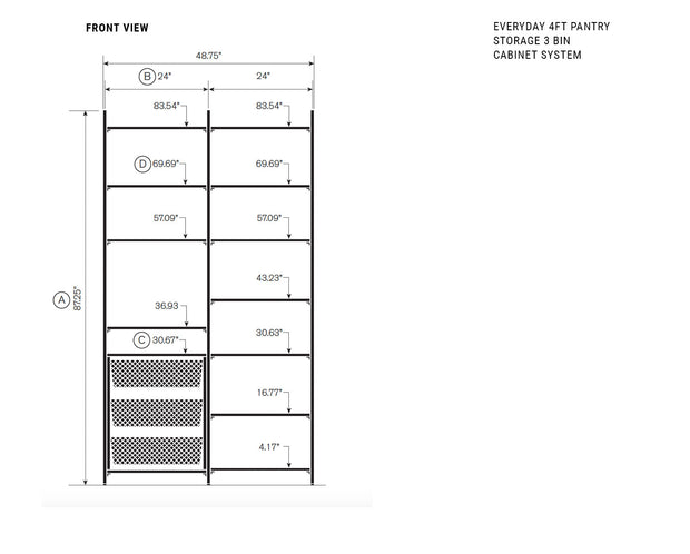 Elevation drawing showing measurement details for the Everyday 4ft Pantry Storage & 3 Bin Cabinet System | California Closets