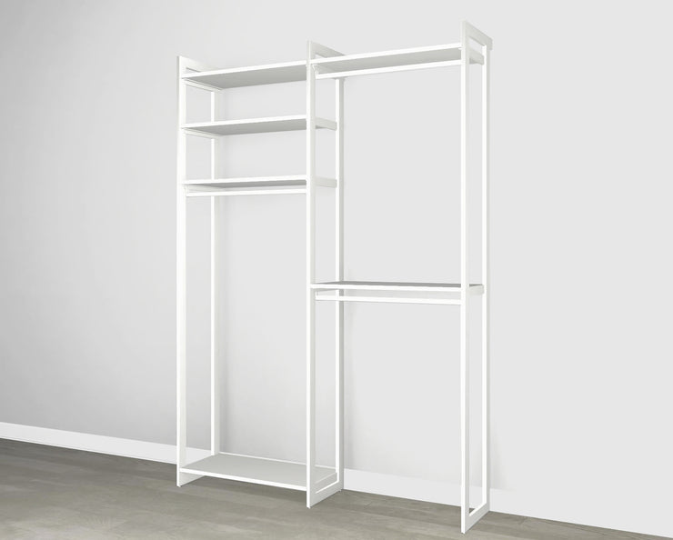 Everyday 5ft Double Hanging System in Perry St. White Woodgrain with White Metal | California Closets