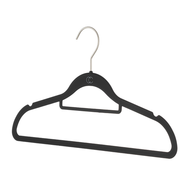 Space Saving Nonslip Suit Hanger with Accessory Bar in Black Finish by California Closets Essentials
