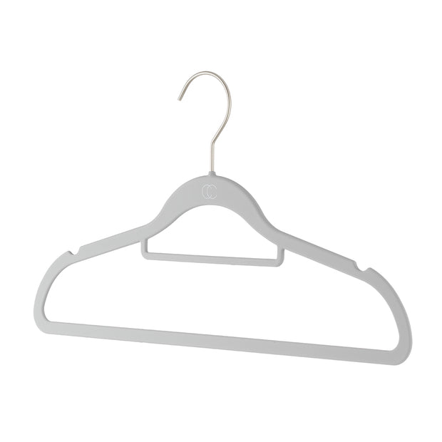 Space Saving Nonslip Suit Hanger with Accessory Bar in Grey Finish