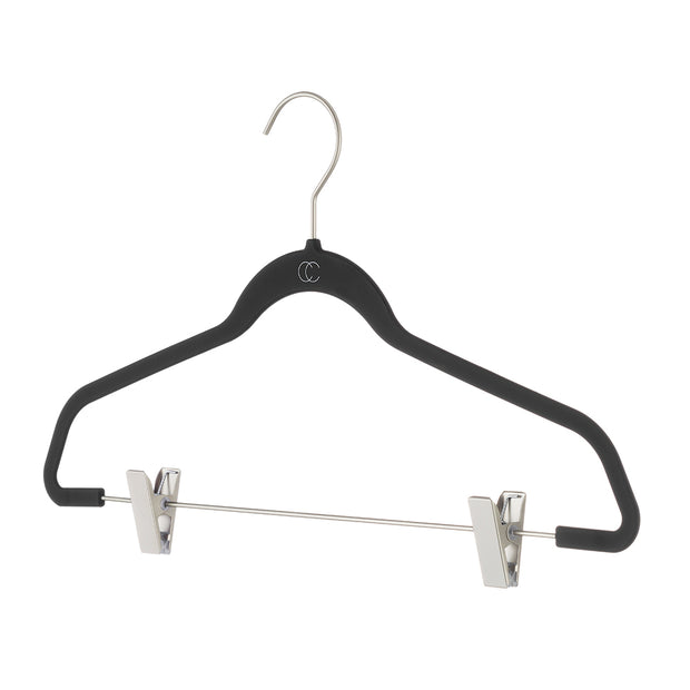 Space Saving Nonslip Suit Hanger with Clips in Black Finish by California Closets Essentials