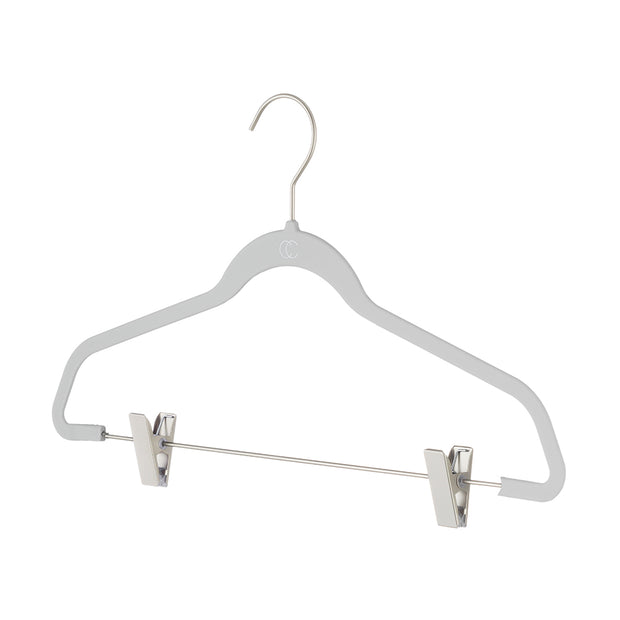 Space Saving Nonslip Suit Hanger with Clips in Grey Finish