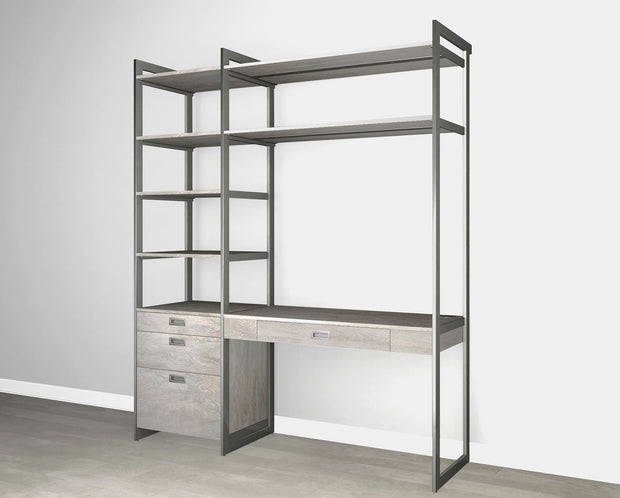 Everyday 6ft Home Office & Storage System in Bedford Grey Woodgrain with Graphite Metal | California Closets