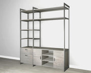 Everyday 6ft Media & Storage System in Bedford Grey Woodgrain with Graphite Metal | California Closets