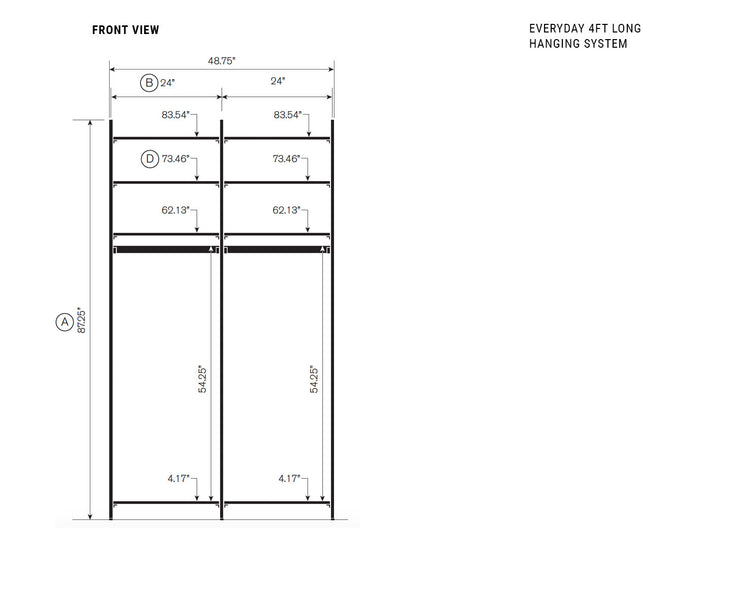 Elevation drawing showing measurement details for the Everyday 4ft Long Hanging System | California Closets