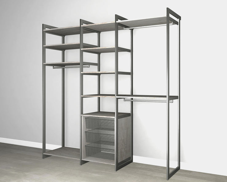 Everyday 7ft Hanging & 3 Bin Cabinet System in Bedford Grey Woodgrain with Graphite Metal | California Closets