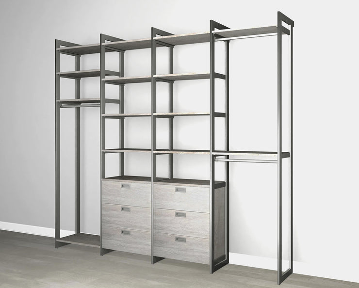 Everyday 8ft Hanging & 6 Drawer Cabinet System in Bedford Grey Woodgrain with Graphite Metal | California Closets