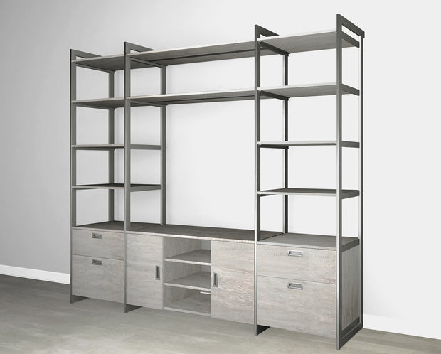 Everyday 8ft Media & Storage System in Bedford Grey Woodgrain with Graphite Metal | California Closets