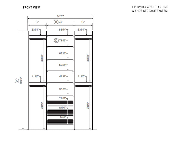 Elevation drawing showing measurement details for the Everyday 4.5ft Hanging & Shoe Storage System | California Closets
