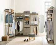 Everyday Walk In 3 Drawer & Hanging in Bedford Grey Woodgrain with Gold Metal | California Closets