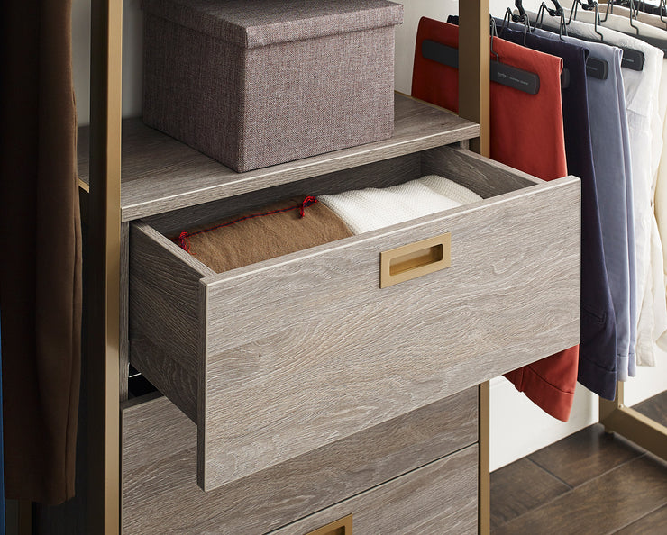 Everyday 5ft Hanging & 3 Drawer Cabinet System in Bedford Grey Woodgrain with Gold Metal | California Closets