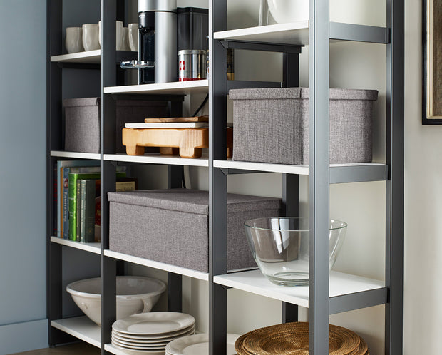 Everyday 4.5ft Pantry Storage System in Perry St. White Woodgrain with Graphite Metal | California Closets