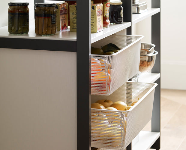 Example of Everyday System Pantry in White Woodgrain with Graphite Metal | California Closets