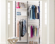 Everyday 4ft Hanging System in Perry St. White Woodgrain with Graphite Metal | California Closets
