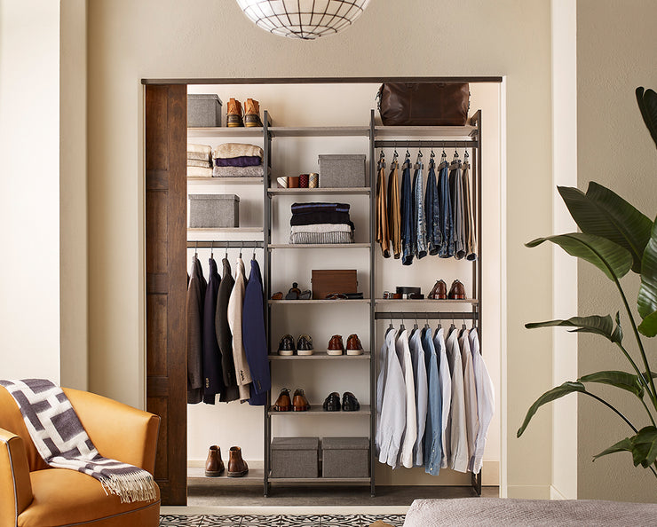Everyday 6ft Hanging & Storage System in Bedford Grey Woodgrain with Graphite Metal | California Closets