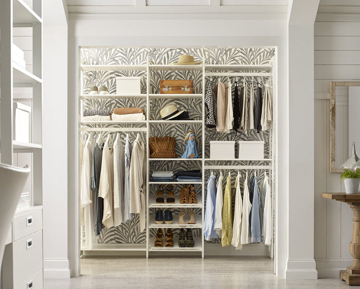 Everyday 6ft Hanging & Shoe Storage System in Perry St. White Woodgrain with White Metal | California Closets