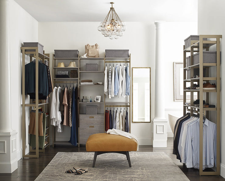Everyday Walk In 3 Drawer & Shoe Storage in Bedford Grey Woodgrain with Gold Metal | California Closets
