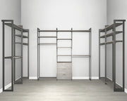 Everyday Walk In 3 Drawer & Hanging in Bedford Grey Woodgrain with Graphite Metal | California Closets