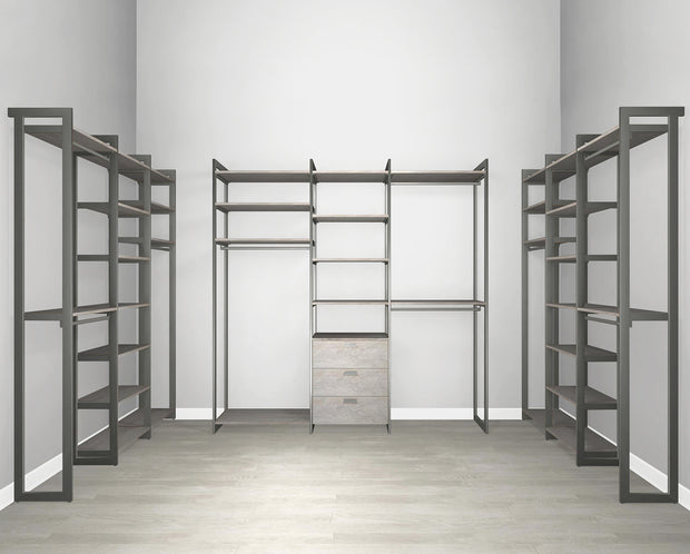 Everyday Walk In 3 Drawer, Hanging & Storage in Bedford Grey Woodgrain with Graphite Metal | California Closets