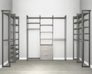 Everyday Walk In 3 Drawer & Shoe Storage in Bedford Grey Woodgrain with Graphite Metal | California Closets