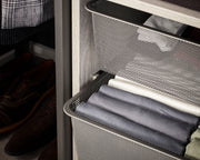 Example of Everyday System Closet Mesh Drawer Bins in Graphite Grey Metal | California Closets