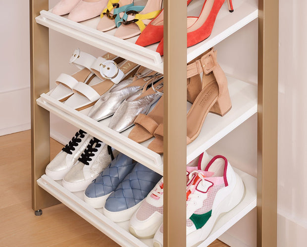 Example of Everyday System Closet Shoe Rack in Perry Street White Woodgrain with Gold Metal | California Closets