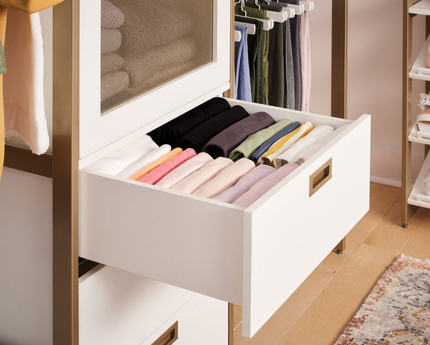 Example of Everyday System Closet Drawers in Perry Street White and Gold Metal | California Closets