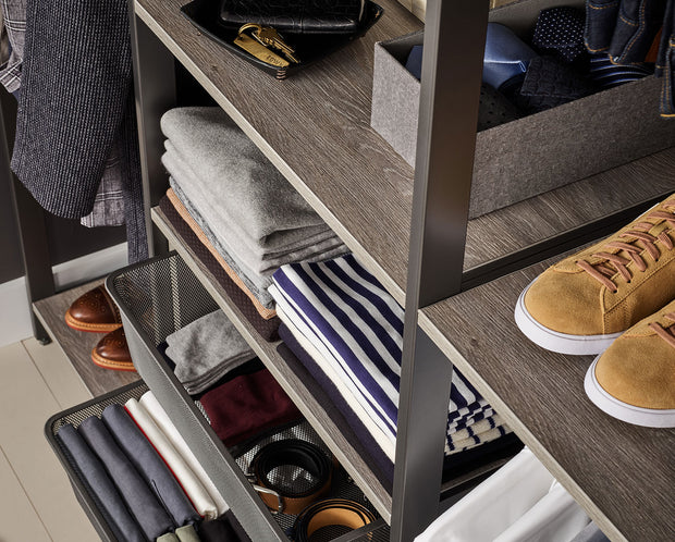 Example of Everyday System Closet Shelves in Bedford Grey Woodgrain and Mesh Drawer Bins in Graphite Grey Metal | California Closets