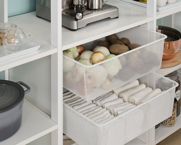 Example of Everyday System Pantry Mesh Drawer Bins in Perry Street White Woodgrain with White Metal | California Closets