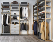 Example of Everyday System Walk-in Closet in Bedford Grey Woodgrain and Gold Metal | California Closets