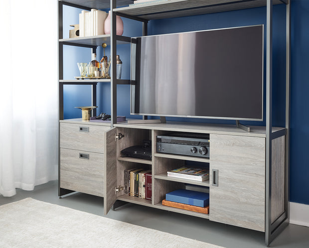 Example of Everyday System Media Storage in Bedford Grey Woodgrain with Graphite Metal | California Closets