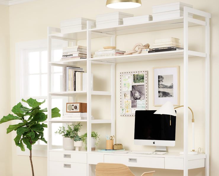 Example of Everyday System Home Office in Perry St. White Woodgrain with White Metal | California Closets