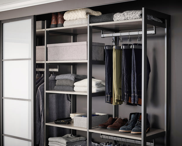 Everyday 5ft Hanging & 3 Drawer Cabinet System in Bedford Grey Woodgrain with Graphite Metal | California Closets