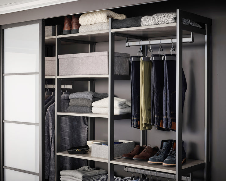 Example of Everyday System Closet in Bedford Grey Woodgrain with Graphite Metal | California Closets