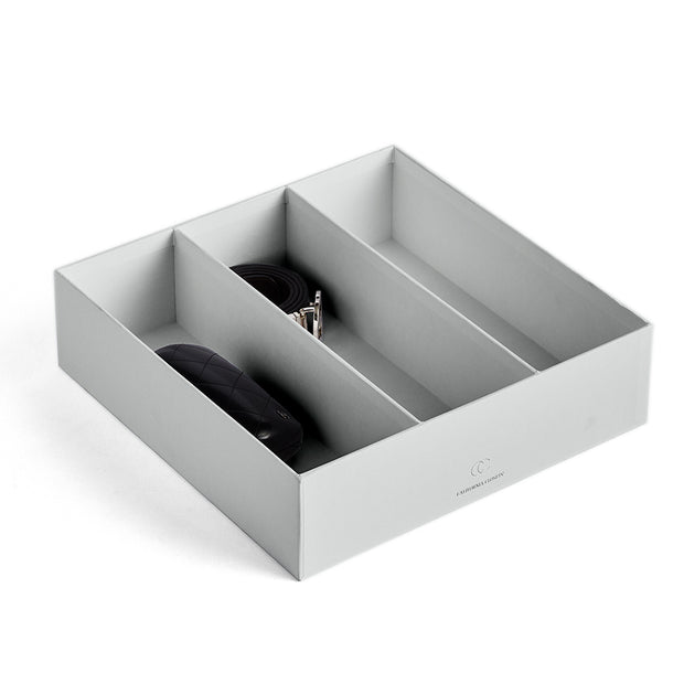Filled Bleecker Divided Organizer 3 Opening in Grey Mist by California Closets Essentials