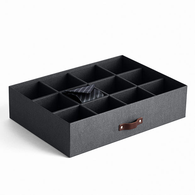 Bleecker Divided Organizer with Handle in Black Fog by California Closets Essentials