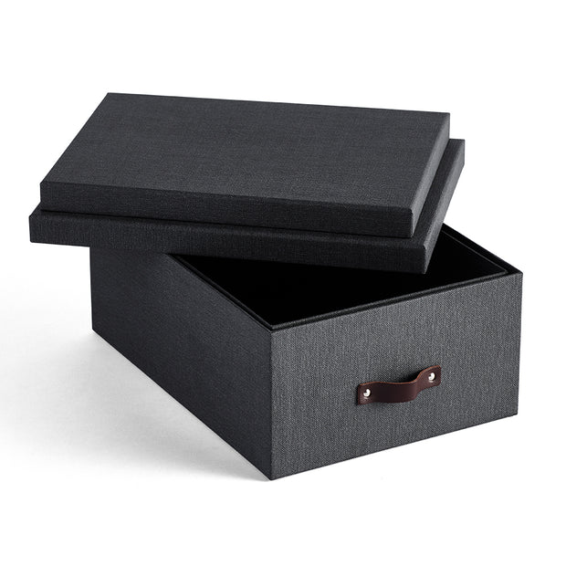 Bleecker Storage Box with Handle Open Top in Black Fog Finish