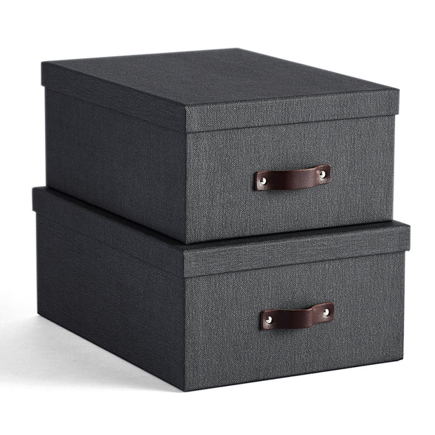 Bleecker Storage Box with Handle in Black Fog Finish