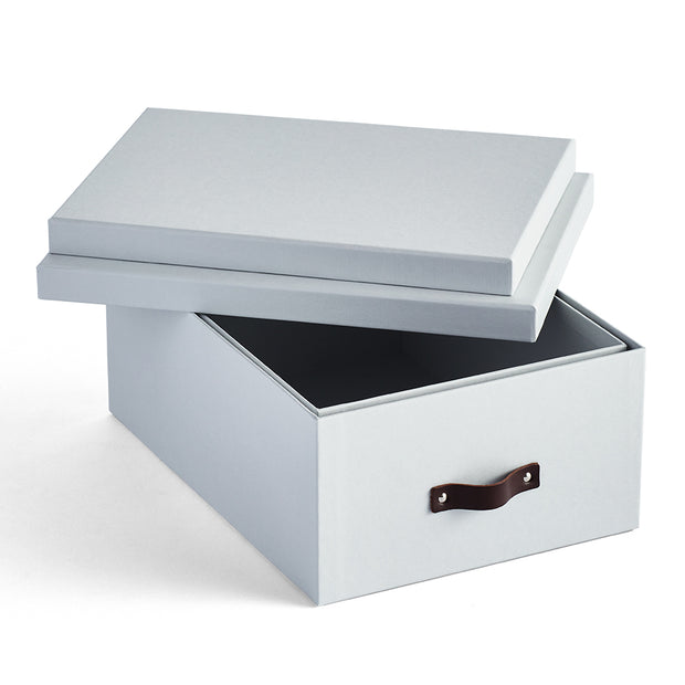Bleecker Storage Box with Handle Open Top in Grey Mist Finish