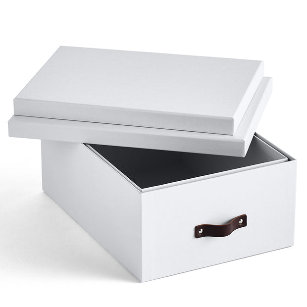 Bleecker Storage Box with Handle Open Top in White Finish