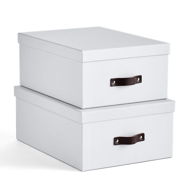 Bleecker Storage Box with Handle in White Finish