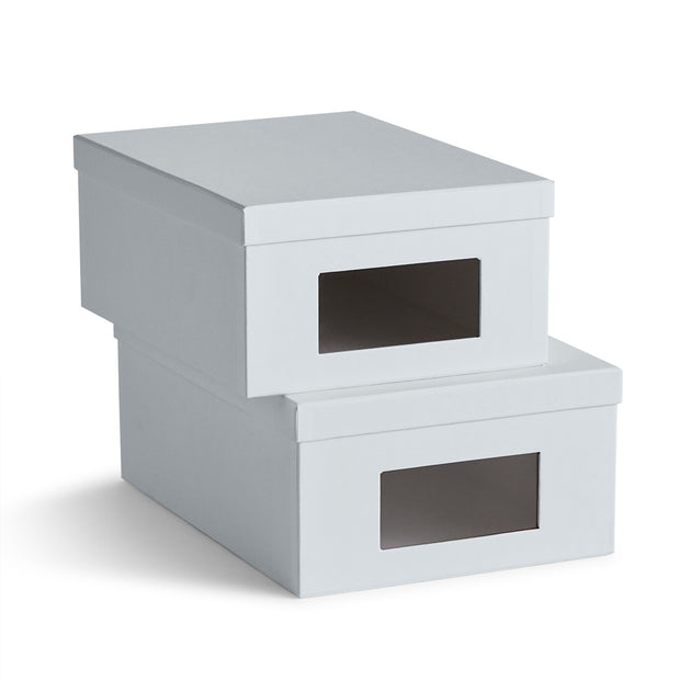 Bleecker Shoe Storage Box Set in Grey Mist Finish by California Closets Essentials