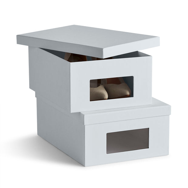 Bleecker Shoe Storage Box Set Open Top in Grey Mist Finish