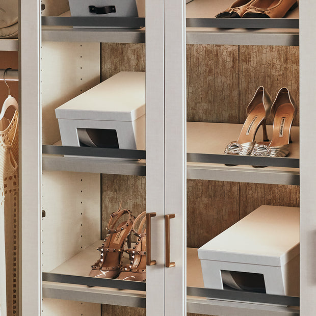 Bleecker Shoe Storage Box Set in White Finish in Closet Shelf