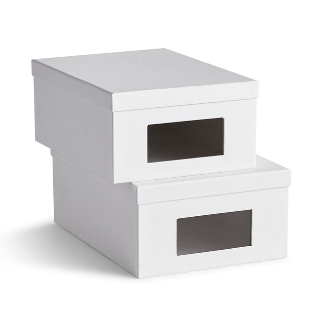 Bleecker Shoe Storage Box Set in White Finish
