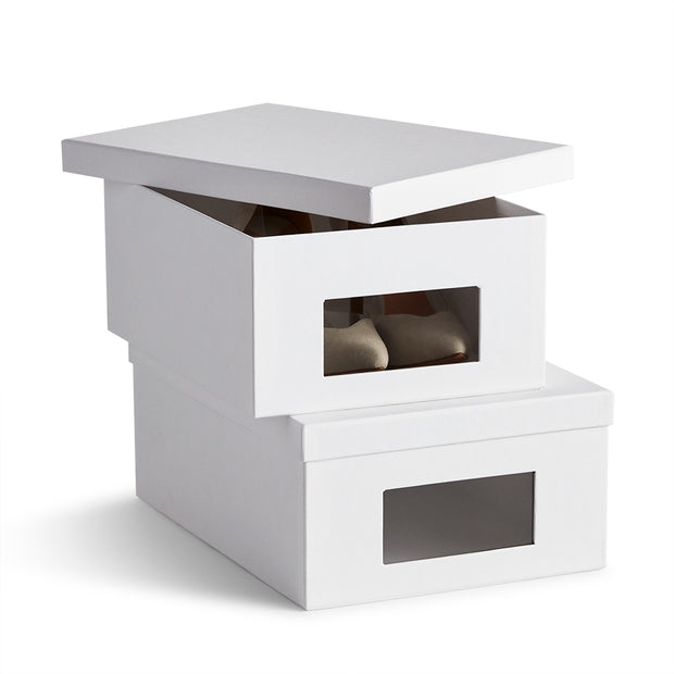 Bleecker Shoe Storage Box Set Open Top in White Finish