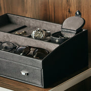 Bowery Valet Cufflink Stud Box in Black Finish in Storage Box