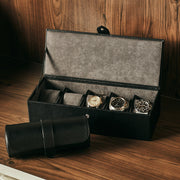 Bowery Valet Triple Watch Roll in Black Finish in Closet Space