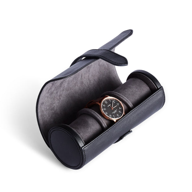 Bowery Valet Triple Watch Roll in Black Finish by California Closets Essentials